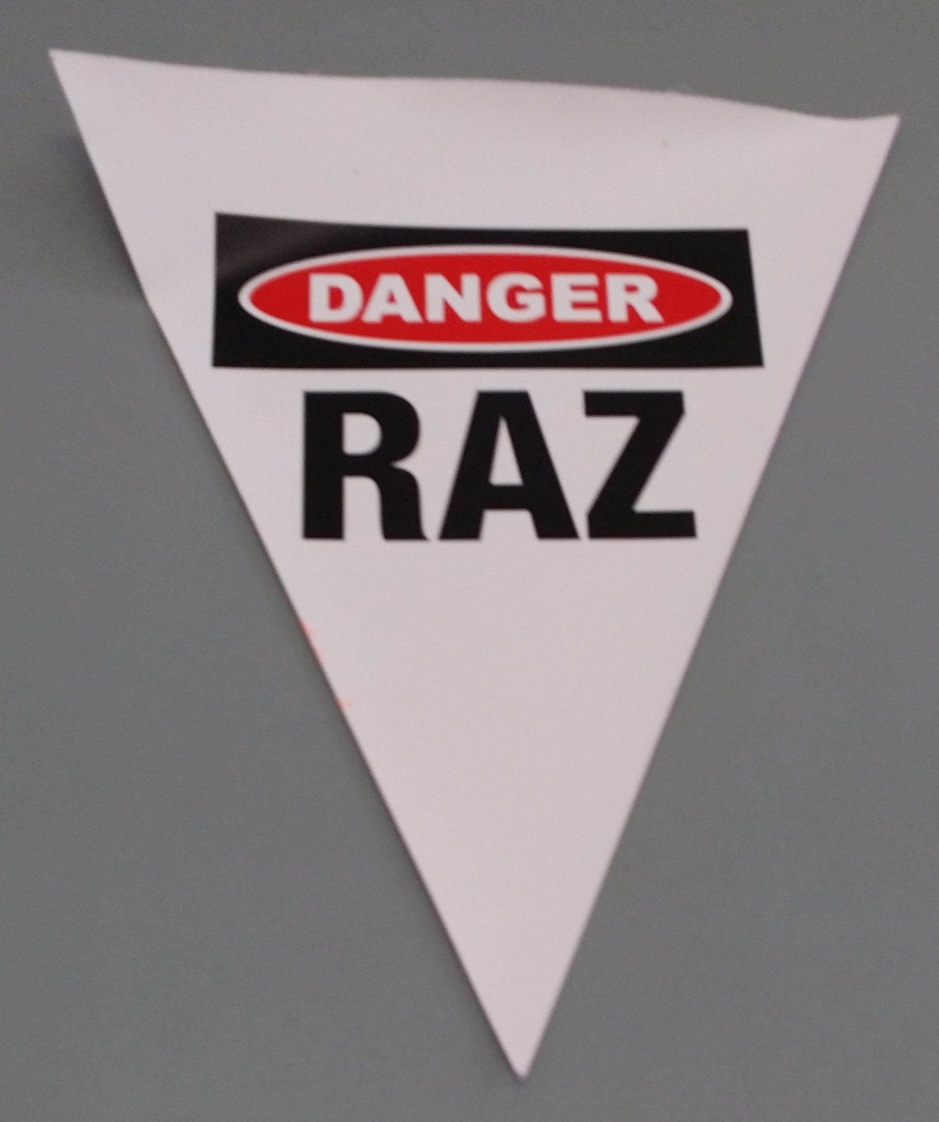 Danger RAZ (white with 2 col print)