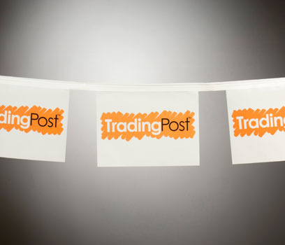Trading Post White Rectangular Bunting