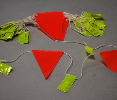 Day/Night reflective tab bunting