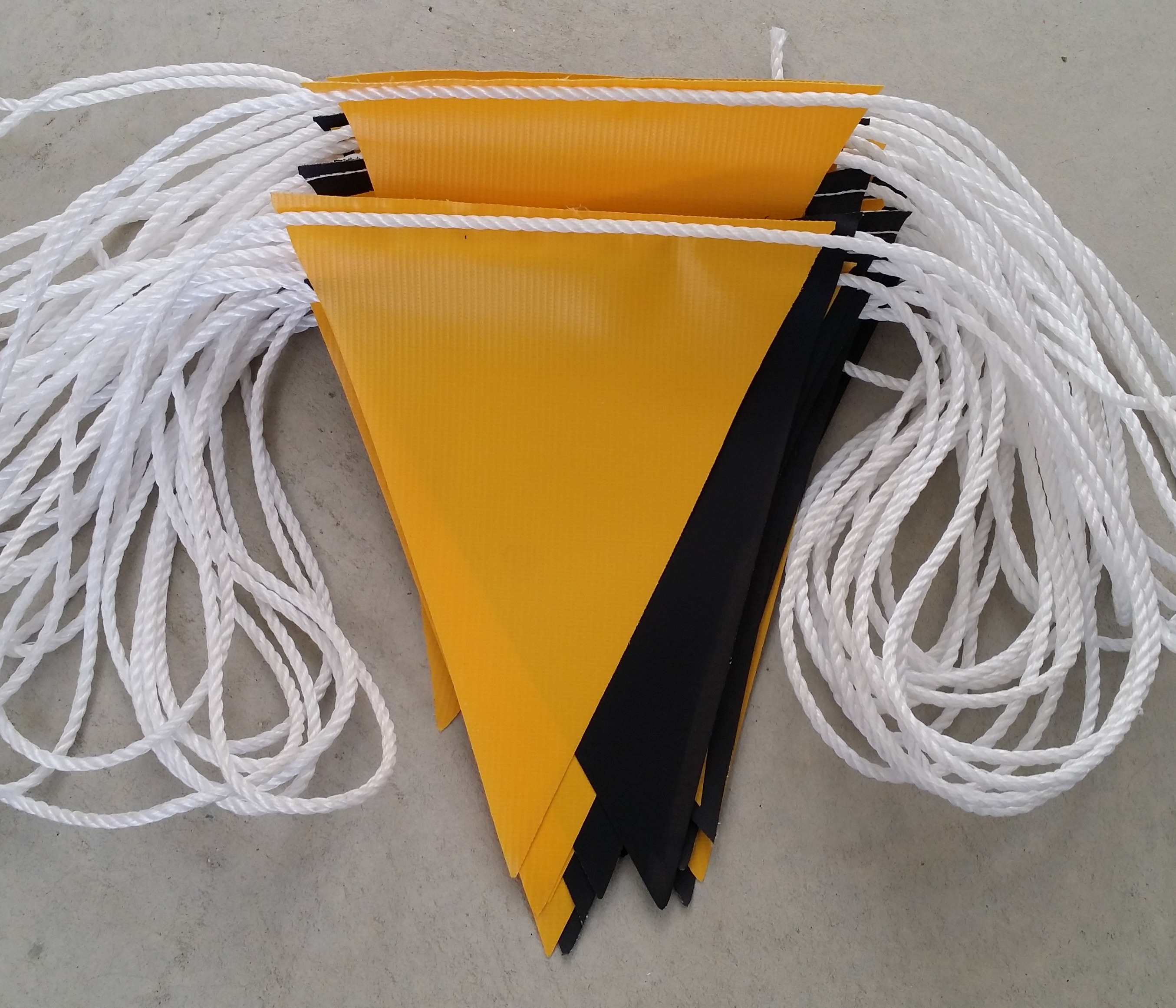 Yellow and Black alternating Safety Bunting