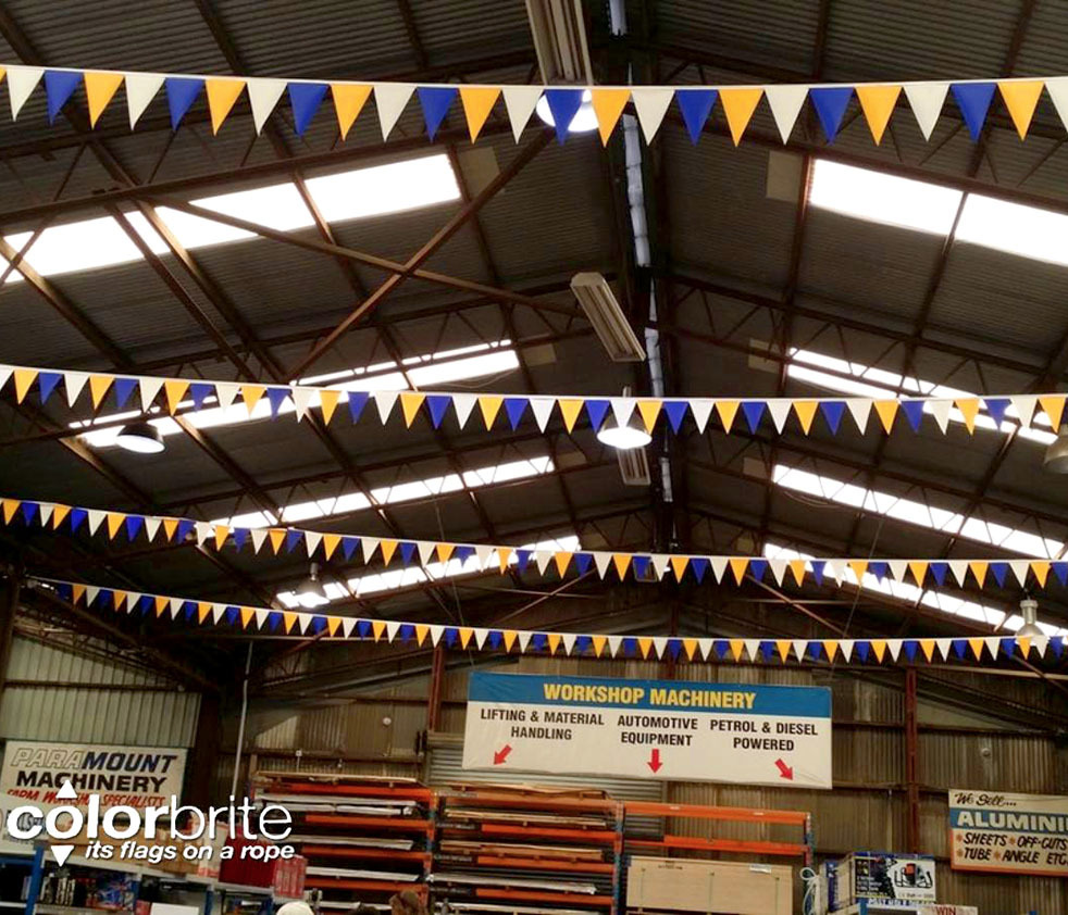Atmosphere Flags to brighten a warehouse, while adding a bit of colour and movement.